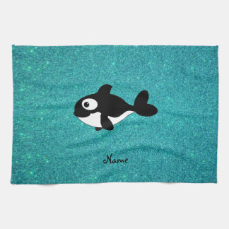 Personalized name killer whale turquoise glitter kitchen towel