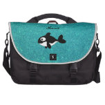 Personalized name killer whale turquoise glitter bag for laptop