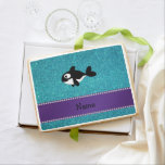 Personalized name killer whale turquoise glitter jumbo cookie