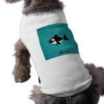 Personalized name killer whale turquoise glitter pet t shirt