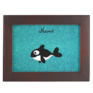 Personalized name killer whale turquoise glitter memory box