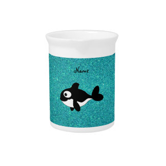 Personalized name killer whale turquoise glitter beverage pitcher