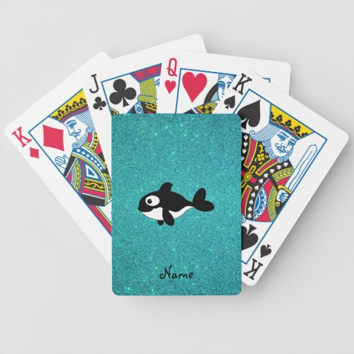 Personalized name killer whale turquoise glitter bicycle card deck
