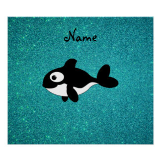 Personalized name killer whale turquoise glitter poster