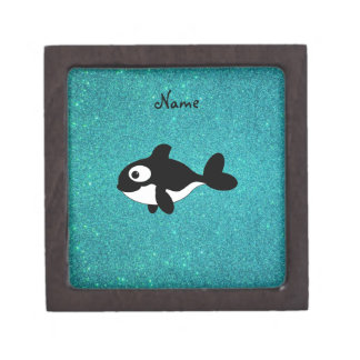 Personalized name killer whale turquoise glitter premium jewelry box