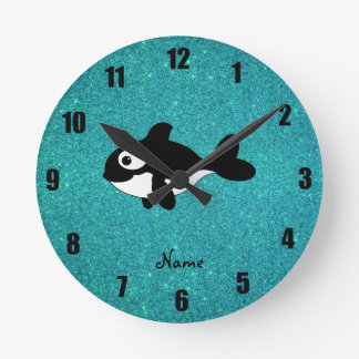 Personalized name killer whale turquoise glitter round clock