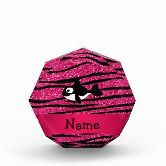 Personalized name killer whale zebra stripes acrylic award