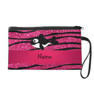 Personalized name killer whale zebra stripes wristlet purses