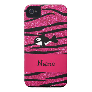 Personalized name killer whale zebra stripes iPhone 4 covers
