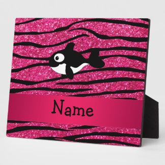 Personalized name killer whale zebra stripes plaque