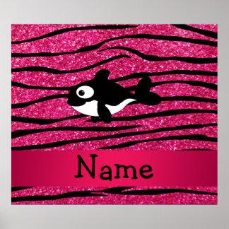 Personalized name killer whale zebra stripes posters