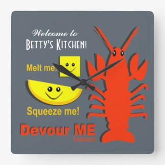 Personalized Name - Kitchen Clock - Maine Lobster
