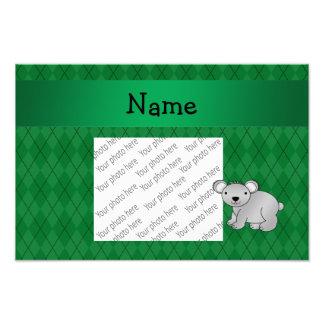 Personalized name koala bear green argyle photo print