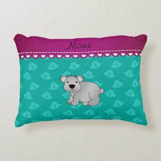 Personalized name koala bear green bells accent pillow