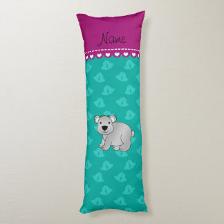 Personalized name koala bear green bells body pillow