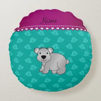 Personalized name koala bear green bells round pillow