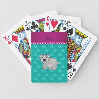 Personalized name koala bear green bells card deck