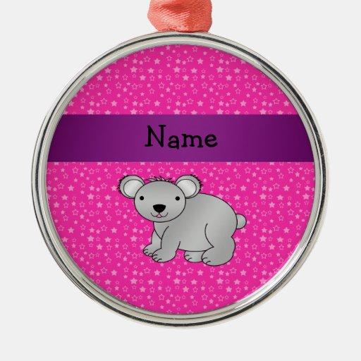 Personalized name koala bear pink stars ornament