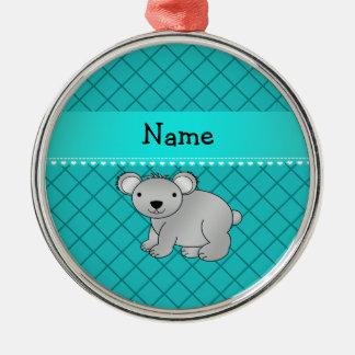 Personalized name koala bear turquoise grid christmas tree ornaments