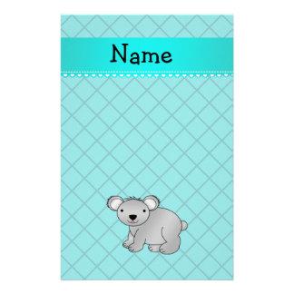 Personalized name koala bear turquoise grid stationery