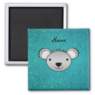 Personalized name koala face turquoise glitter 2 inch square magnet