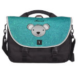 Personalized name koala face turquoise glitter commuter bag