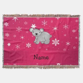 Personalized name koala pink snowflakes throw blanket