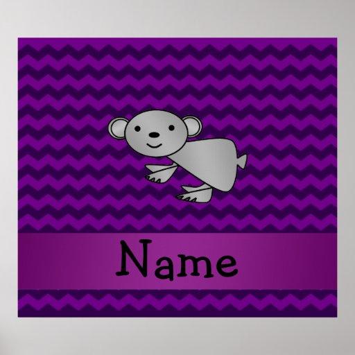 Personalized name koala purple chevrons posters