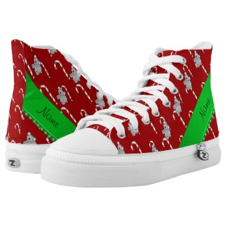 Personalized name koala red christmas candy canes printed shoes