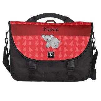 Personalized name koala red christmas trees computer bag