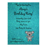 Personalized name koala turquoise glitter 6.5x8.75 paper invitation card