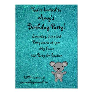 "Personalized name koala turquoise glitter 6.5"" x 8.75"" invitation card"