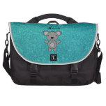 Personalized name koala turquoise glitter computer bag