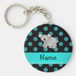 Personalized name koala turquoise polka dots keychains