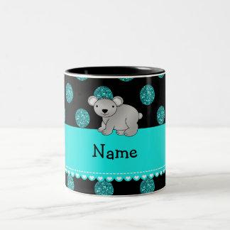 Personalized name koala turquoise polka dots Two-Tone coffee mug