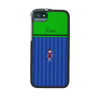 Personalized name lacrosse girl blue stripes iPhone 5 cover