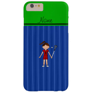 Personalized name lacrosse girl blue stripes barely there iPhone 6 plus case
