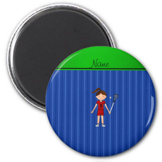 Personalized name lacrosse girl blue stripes magnets