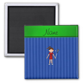 Personalized name lacrosse girl blue stripes refrigerator magnets