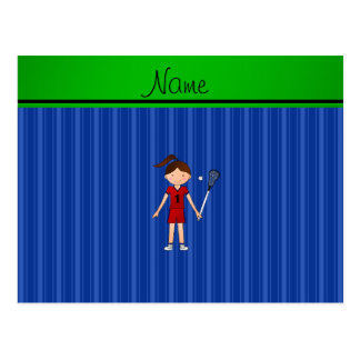 Personalized name lacrosse girl blue stripes postcard