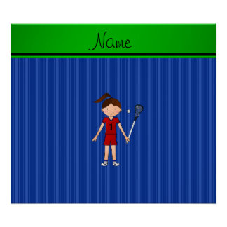 Personalized name lacrosse girl blue stripes poster