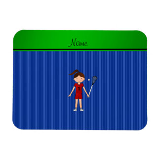 Personalized name lacrosse girl blue stripes rectangular magnets