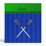 Personalized name lacrosse sticks blue stripes 3 ring binder