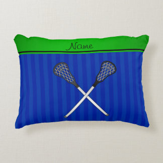 Personalized name lacrosse sticks blue stripes accent pillow