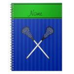 Personalized name lacrosse sticks blue stripes notebook