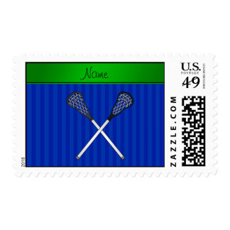 Personalized name lacrosse sticks blue stripes postage stamp