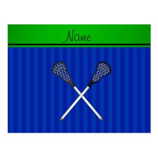 Personalized name lacrosse sticks blue stripes postcard