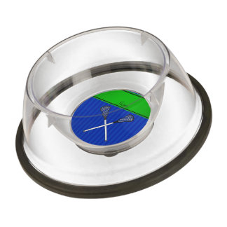 Personalized name lacrosse sticks blue stripes pet bowl