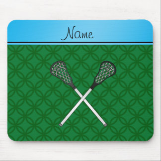Personalized name lacrosse sticks green circles mousepads