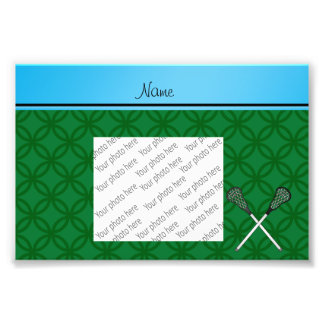 Personalized name lacrosse sticks green circles photograph